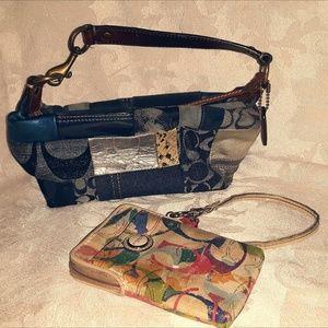 COACHhobo patchwork bag w/ bonus wristlet wallet